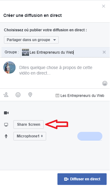 Bouton Share Screen Facebook Live
